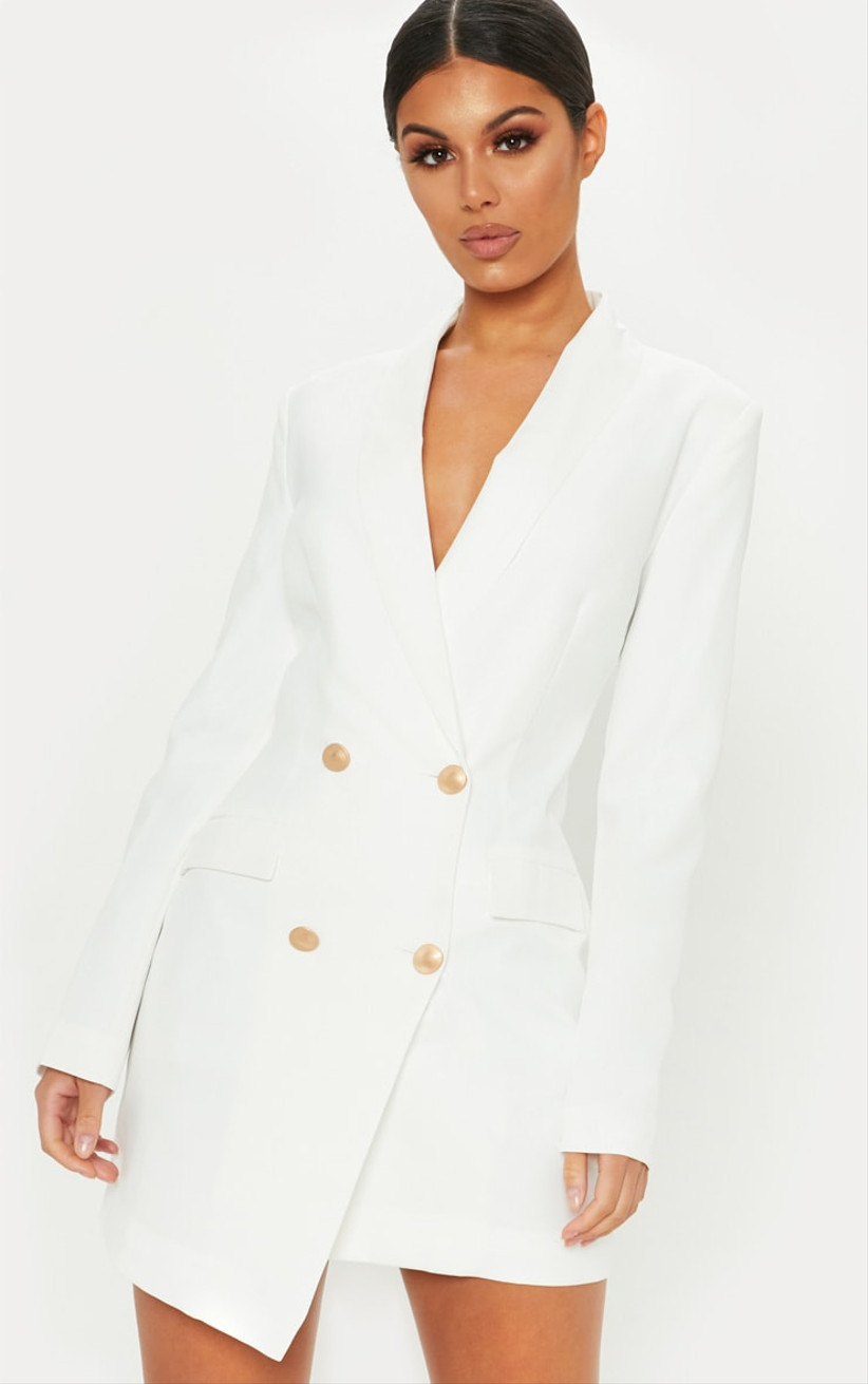 modern bachelorette party dress oversized blazer style with double-breasted gold buttons