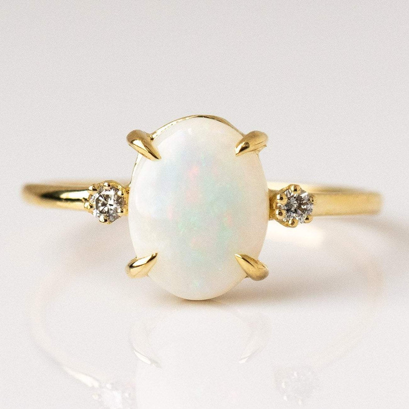local eclectic opal ring with diamonds for 14th year wedding anniversary gift