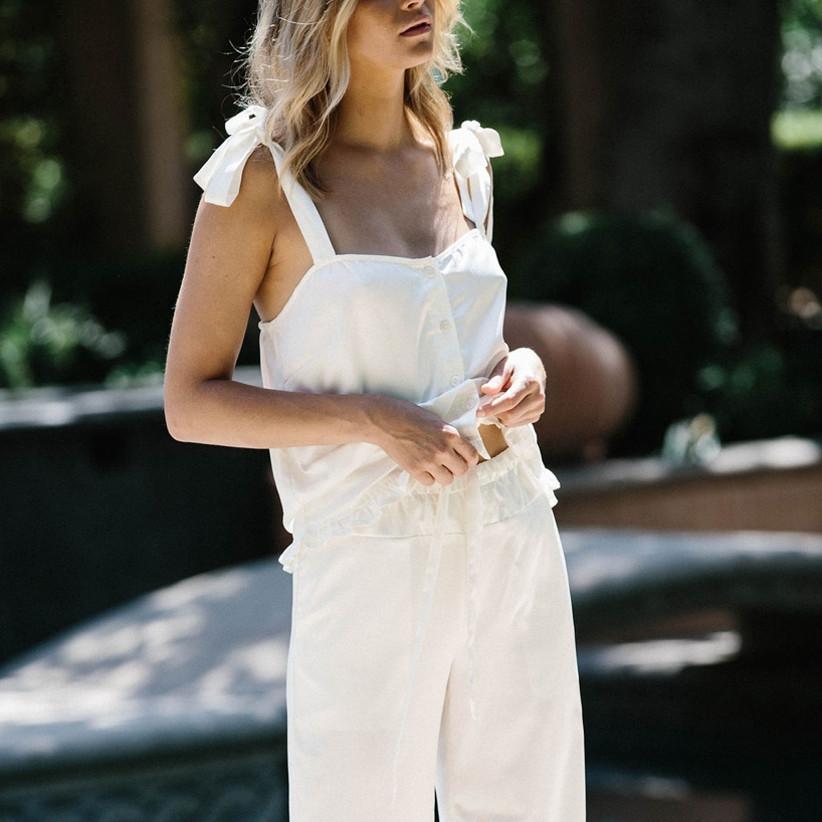white bridal loungewear pajama set