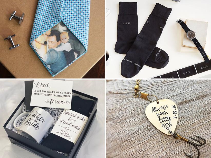 Collage of four father of the bride gift ideas