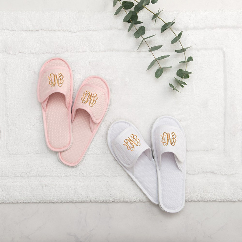 Personalized slippers spa bridesmaid box idea