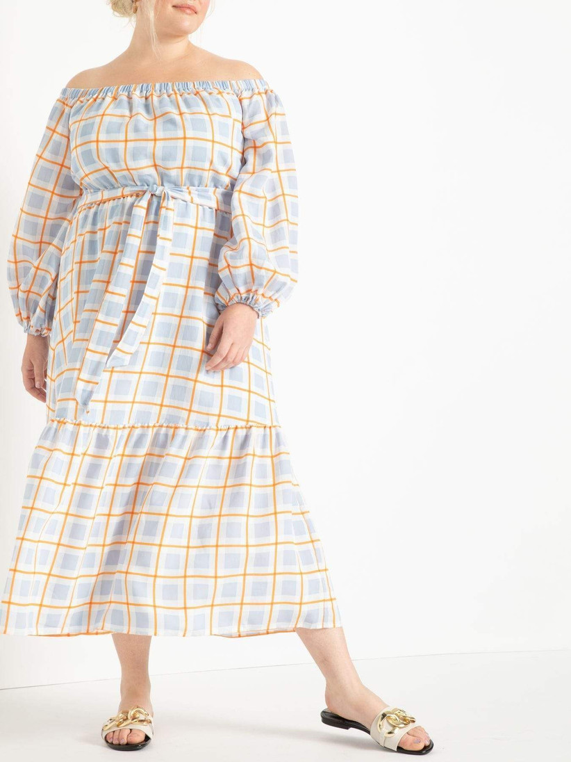 midi off-the-shoulder engagement party dress with oversized gingham check print in pale blue