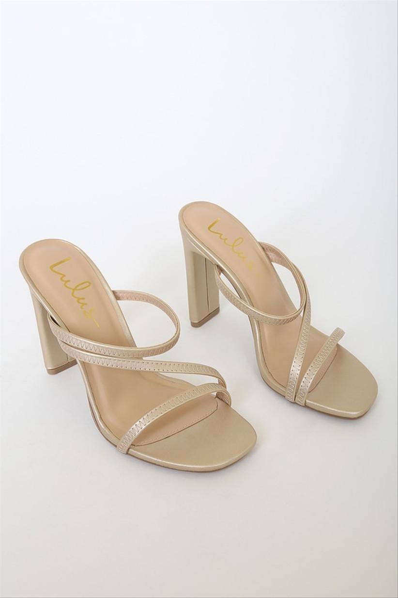 strappy slip-on gold block heel sandals