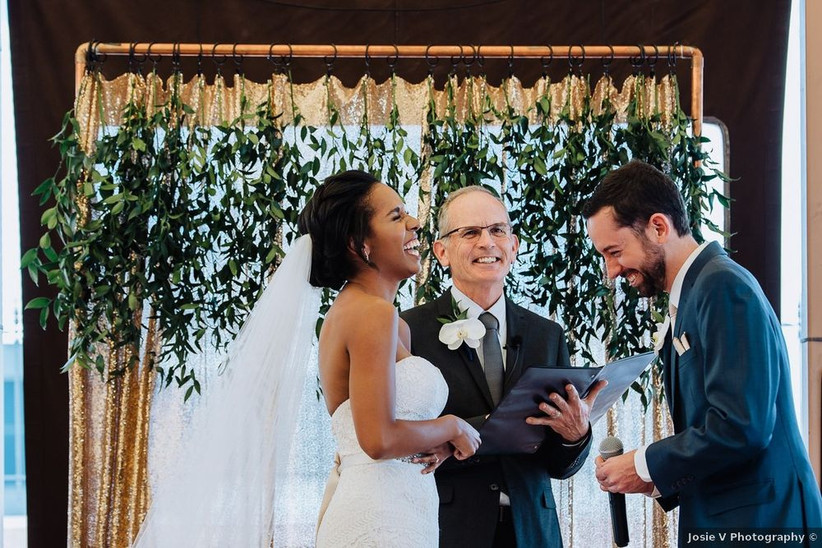 couple laughing wedding