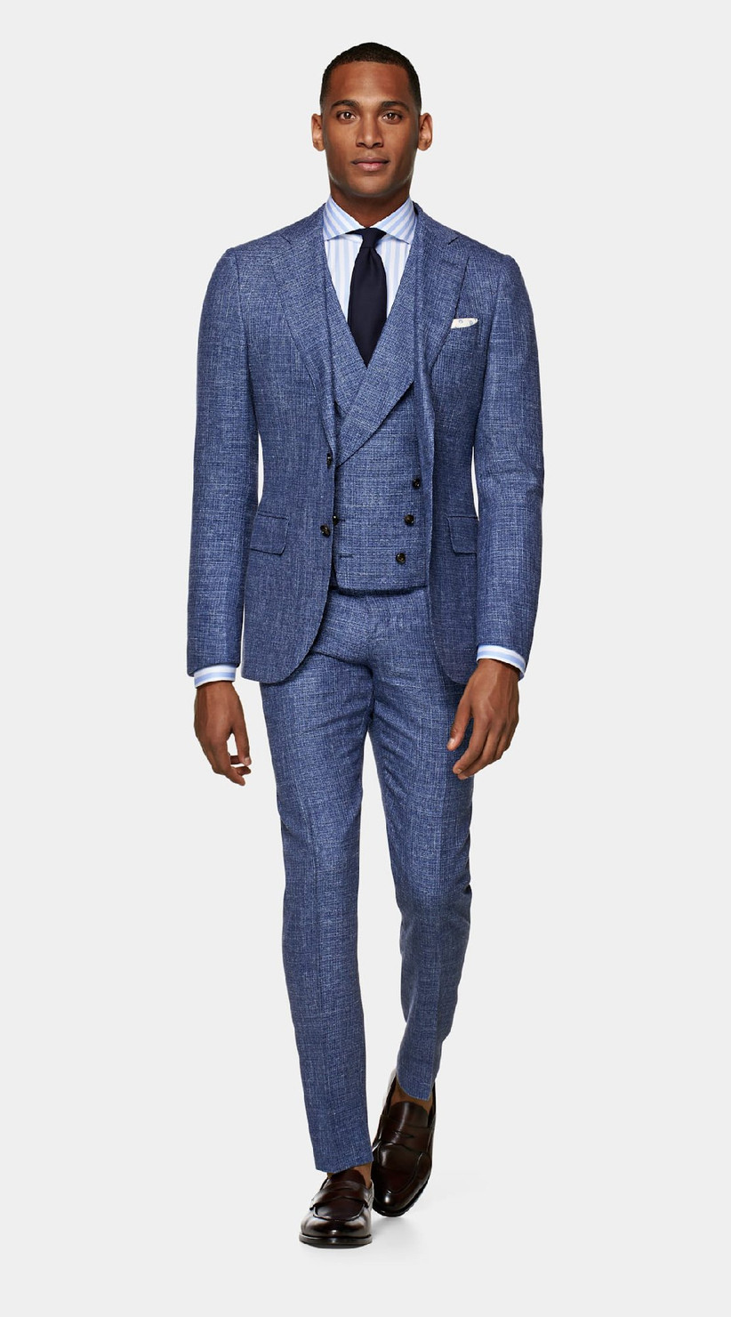 Wool, silk, and linen blend three-piece suit in mid-blue color