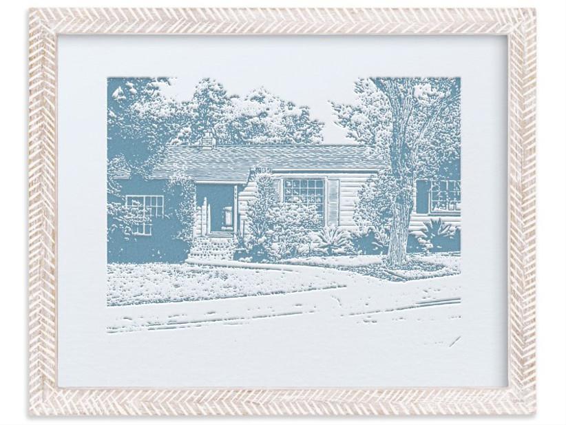 Letterpress custom framed portrait of house