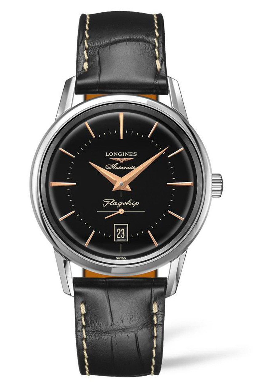 Longines automatic engagement watch with black leather strap, black dial, and stainless steel bezel