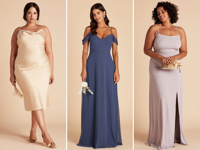 Collage of bridesmaid dresses left to right: Gold satin midi, slate blue chiffon off-the-shoulder gown, spaghetti strap lilac crepe dress