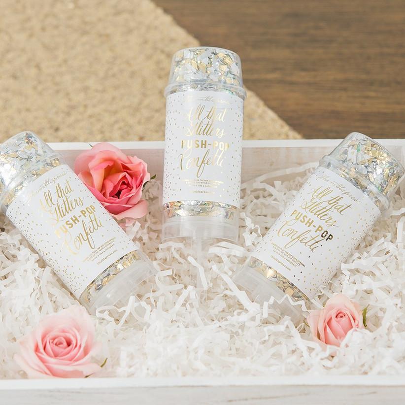 Pretty box with three push-pop confetti favors