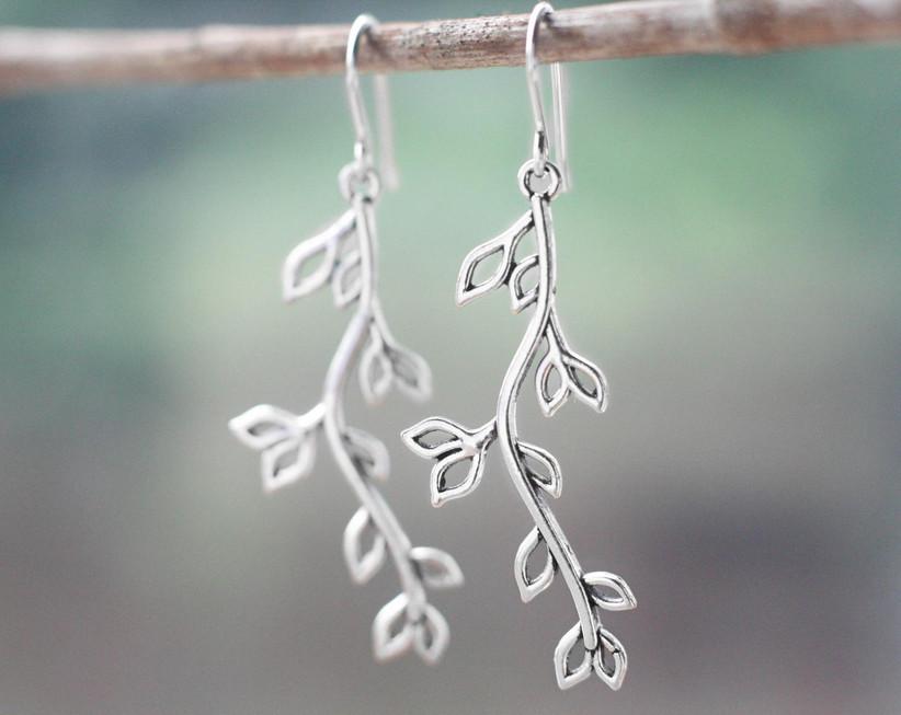 Silver willow branch earrings