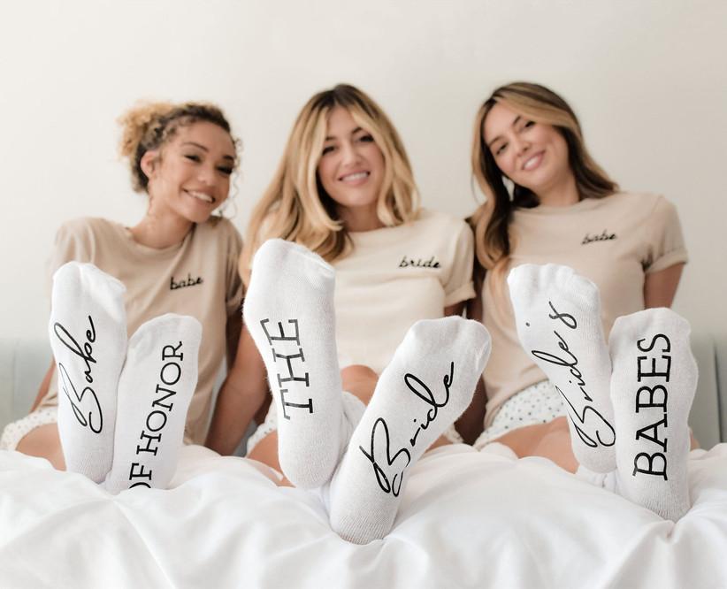 Bridal party socks bridesmaid gift idea