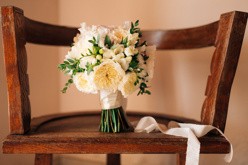 summer wedding bouquet with white garden roses and freesias