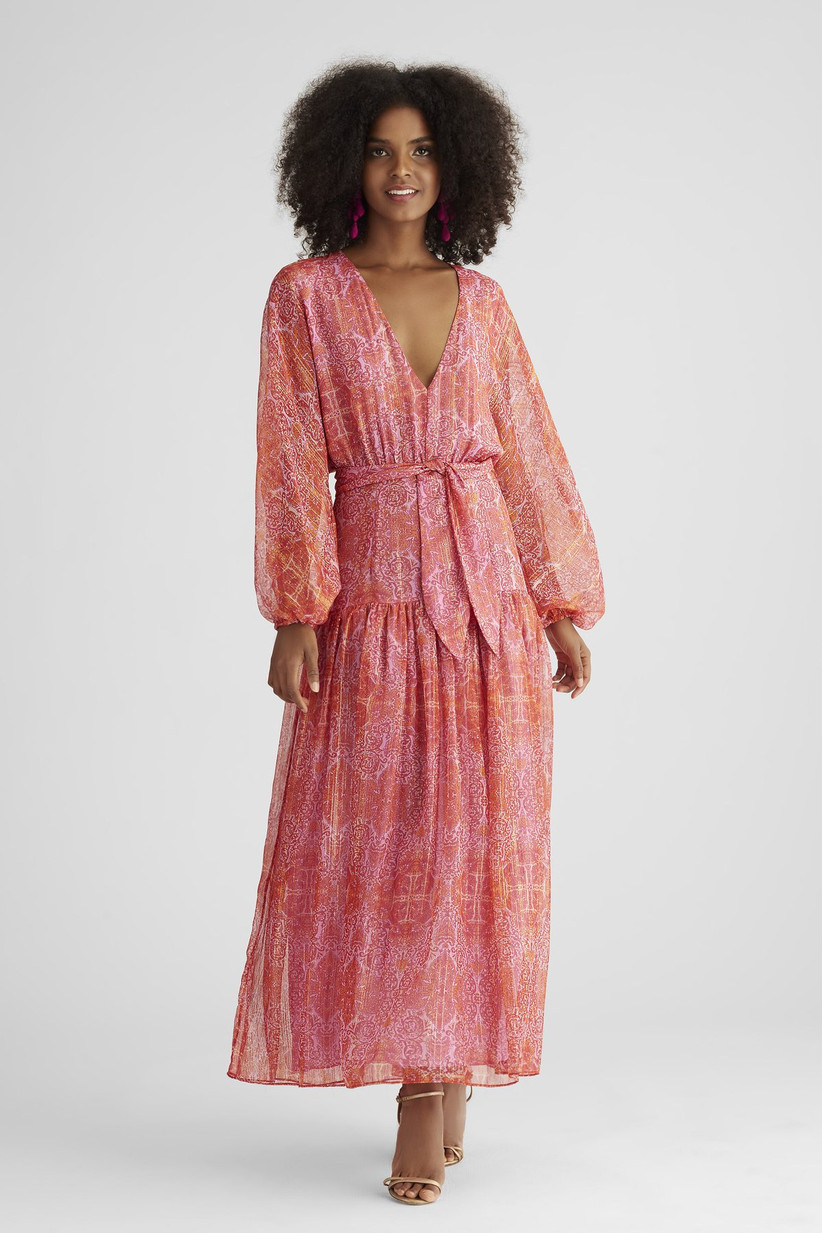 pink bohemian printed maxi dress