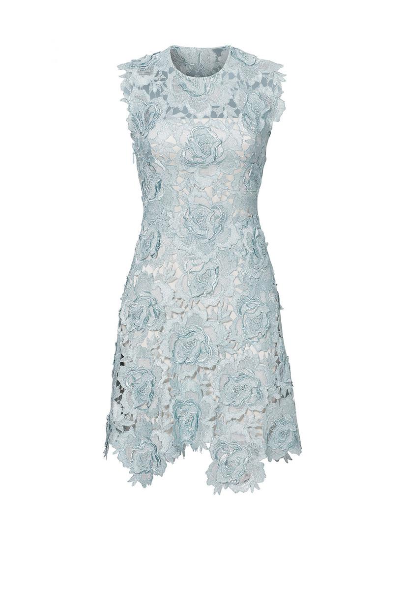short pale blue floral lace dress