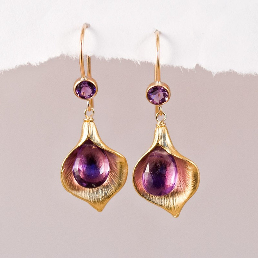 gold and amethyst calla lily earrings