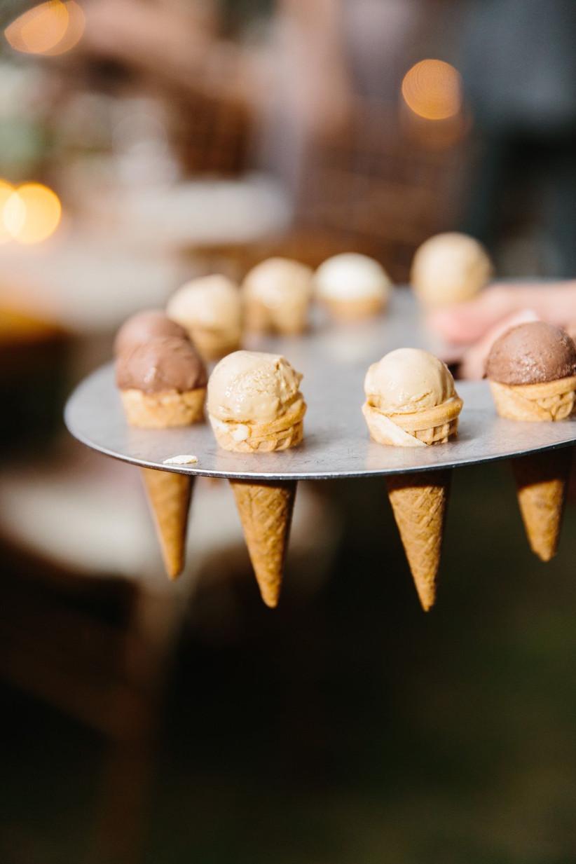 mini sugar cones with strawberry and chocolate ice cream scoops