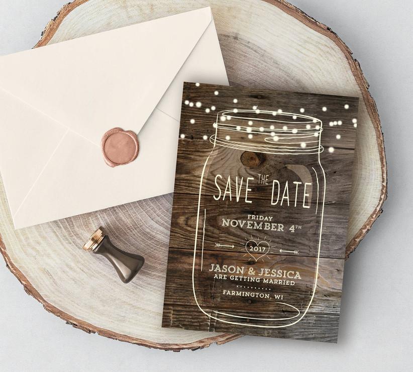 fall save the dates mason jar