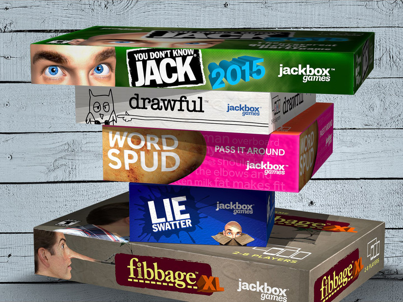 Stack of five virtual board games top to bottom: You Don't Know Jack; drawful; Word Spud; Lie Swatter; fibbage