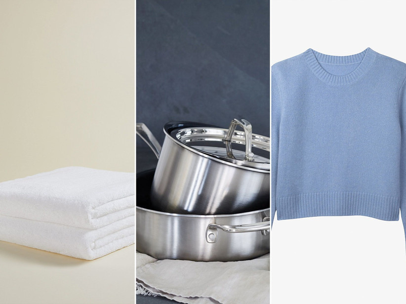 Collage of three products including towels, cookware, and a sweater