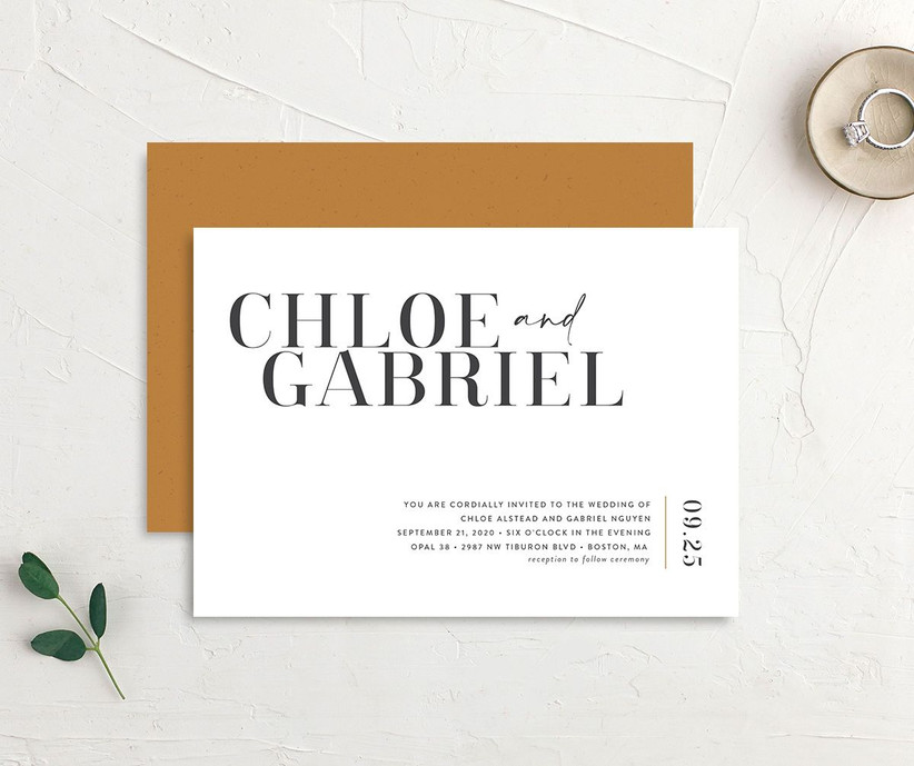 Black and white affordable wedding invitation