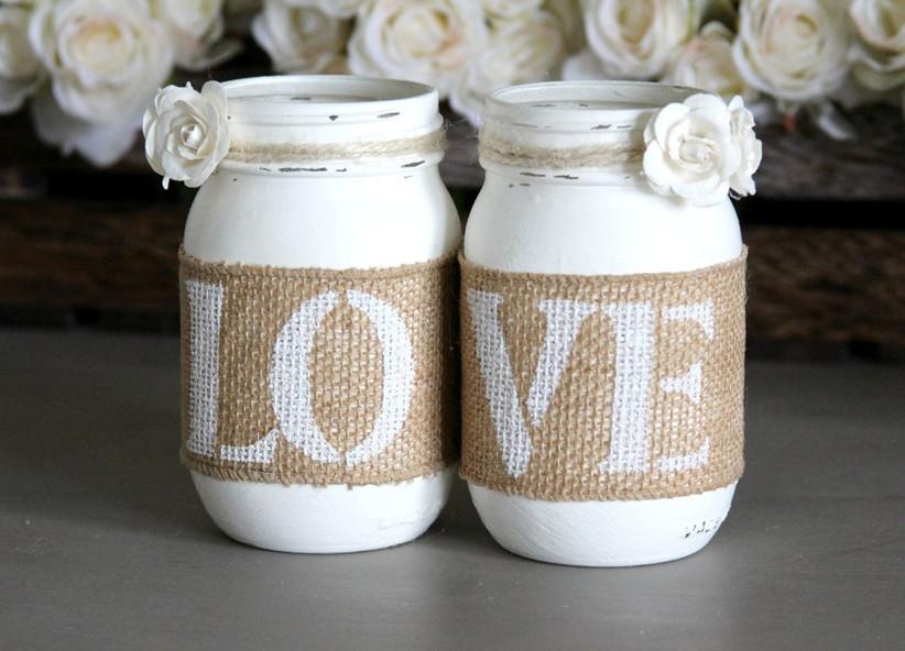 Decorated mason jar engagement party centerpiece