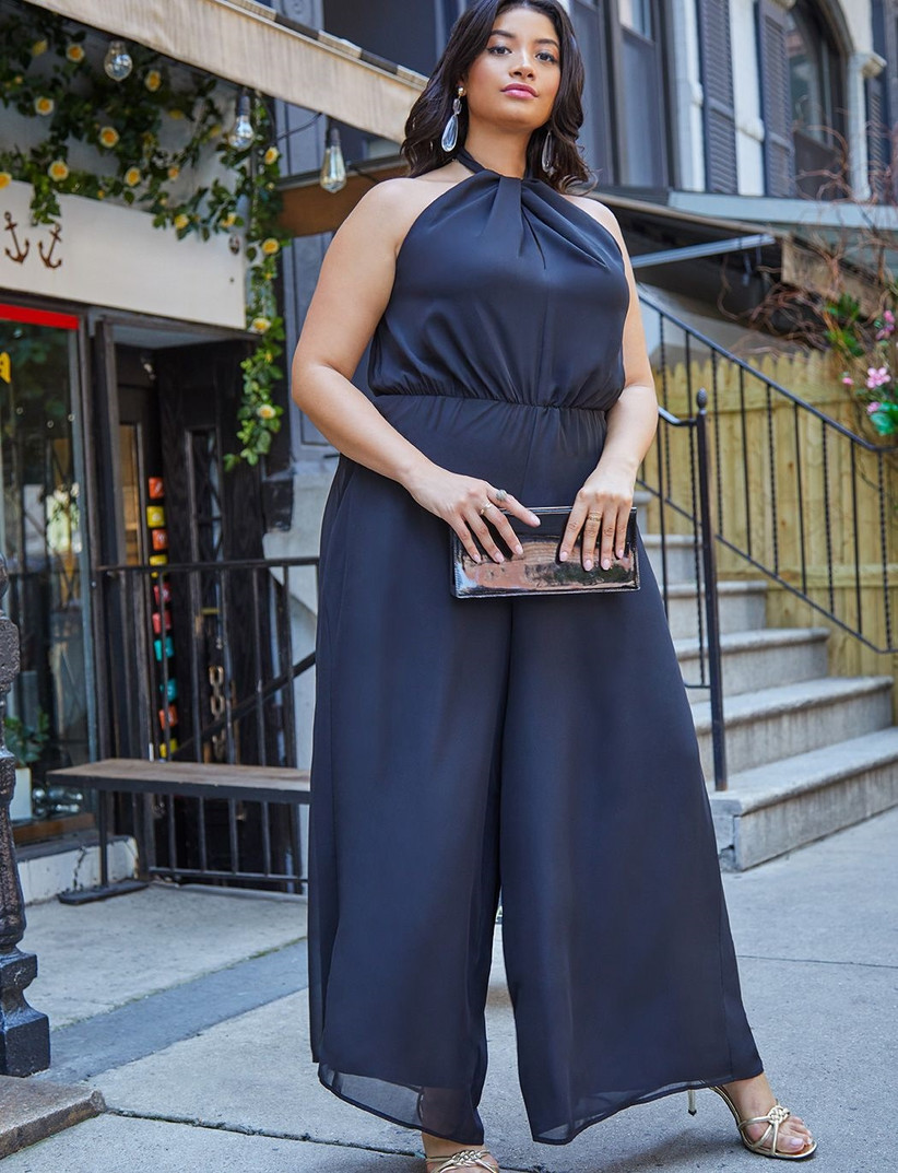 Navy halter neck jumpsuit fall wedding guest outfit
