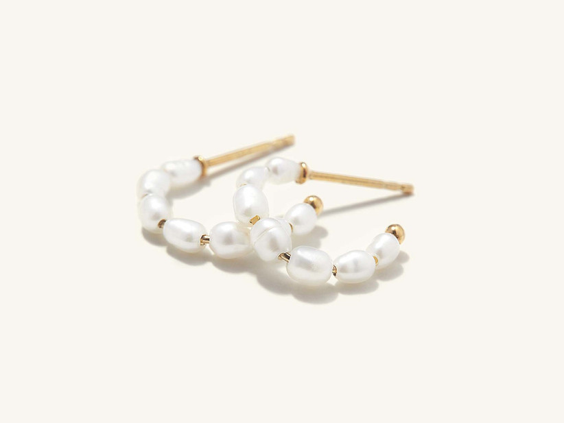 Dainty pearl and gold hoops