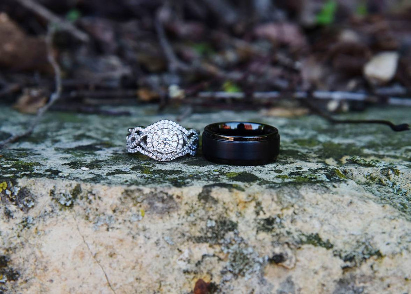 engagement ring and wedding band sitting side by side