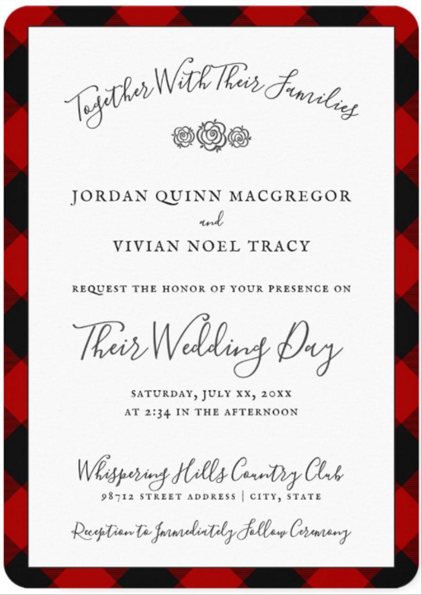 plaid winter wedding invitations