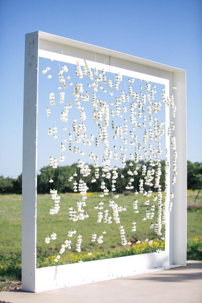 spring wedding idea flower backdrop