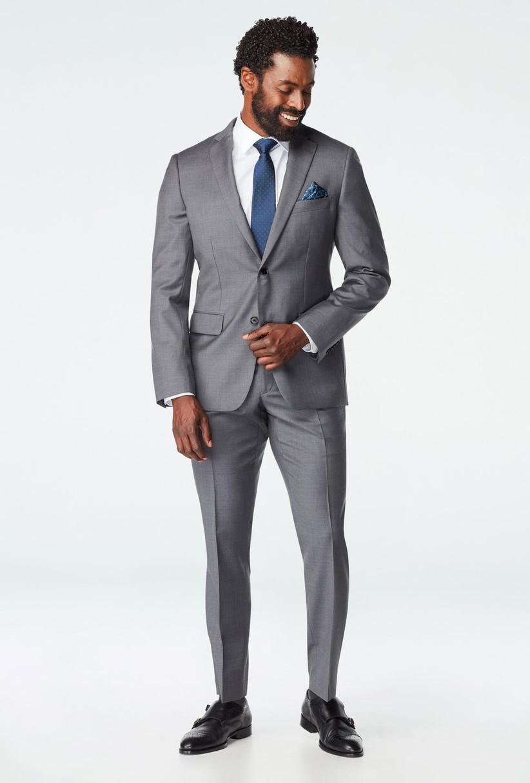 Light gray summer wedding midweight suit