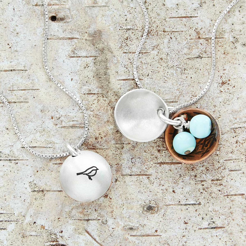 Bird motif sterling silver nest egg necklace with amazonite eggs