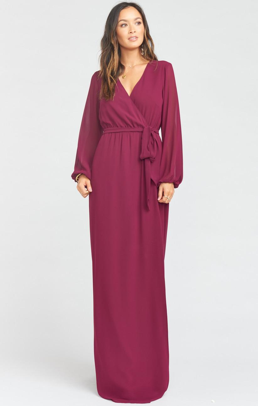 Long-sleeve burgundy bridesmaid dress