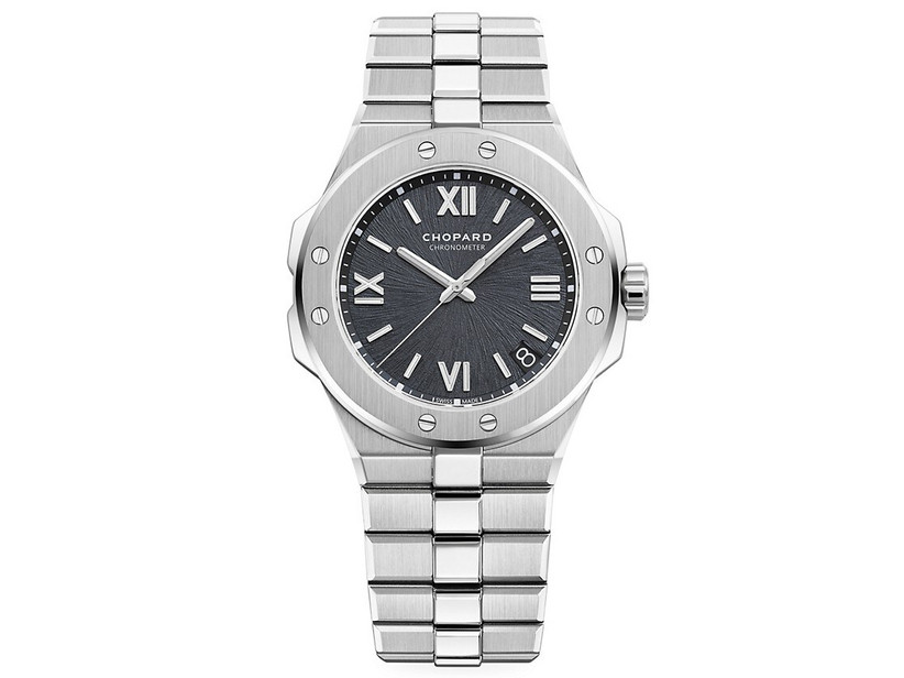 Chopard stainless steel engagement watch with dark, sunburst motif dial and see-through back
