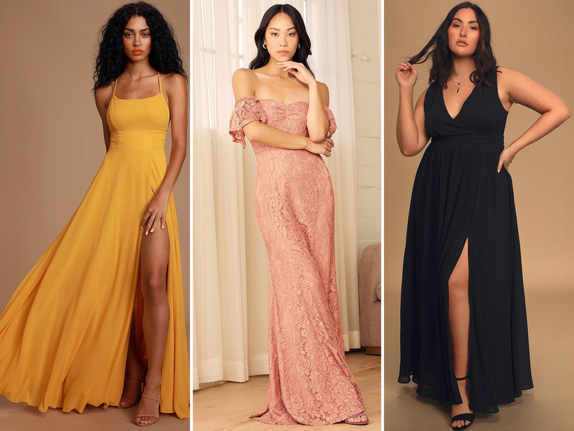 Collage of bridesmaid dresses left to right: marigold maxi, blush pink ;ace off-the-shoulder gown, navy v-neck with leg slit