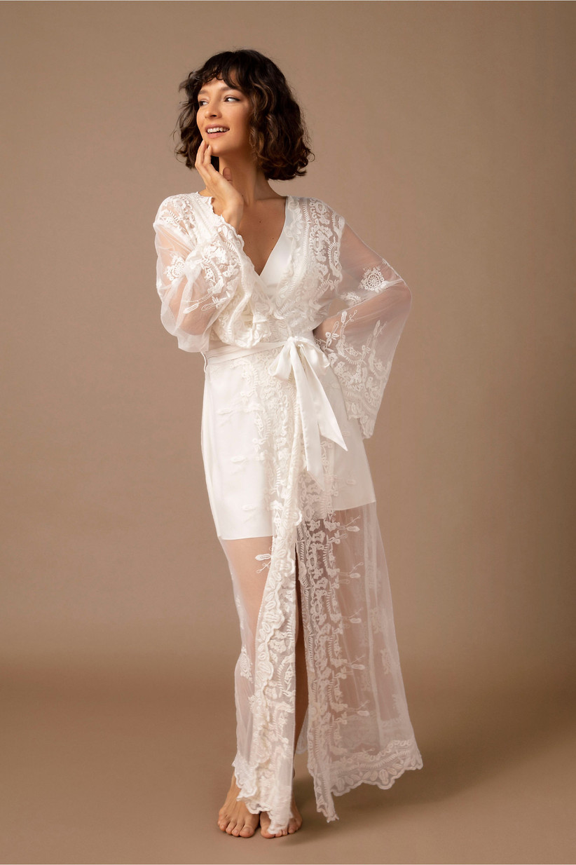 Long sheer white bridal robe with lace details
