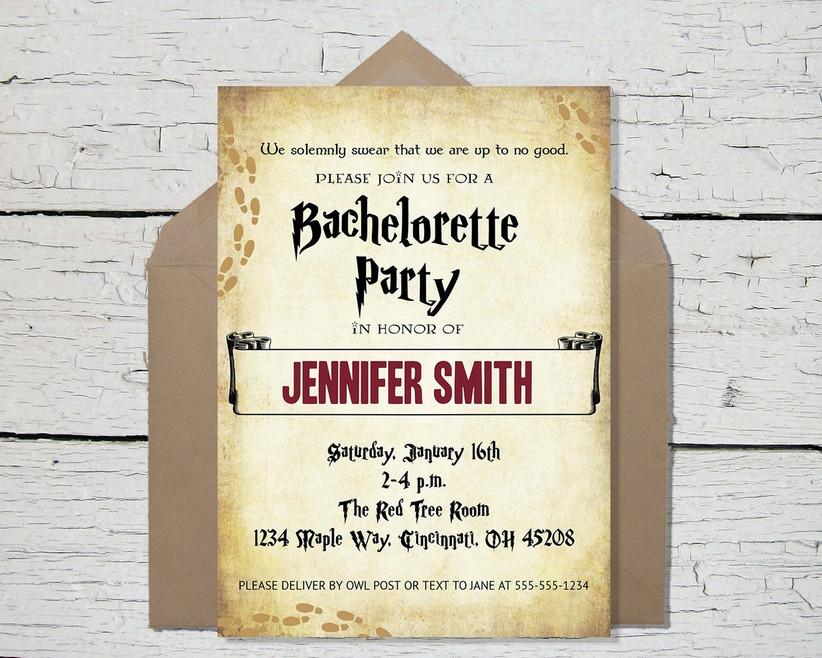 harry potter bachelorette party invitation