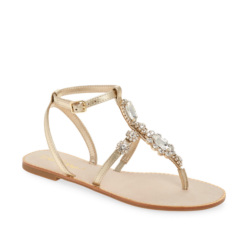 gold T-strap beach wedding sandal with beading