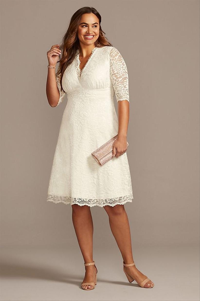 knee-length courthouse wedding dress