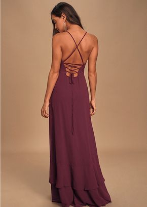 In Love Forever Plum Lace-Up High-Low Maxi Dress, Lulus Bridesmaid