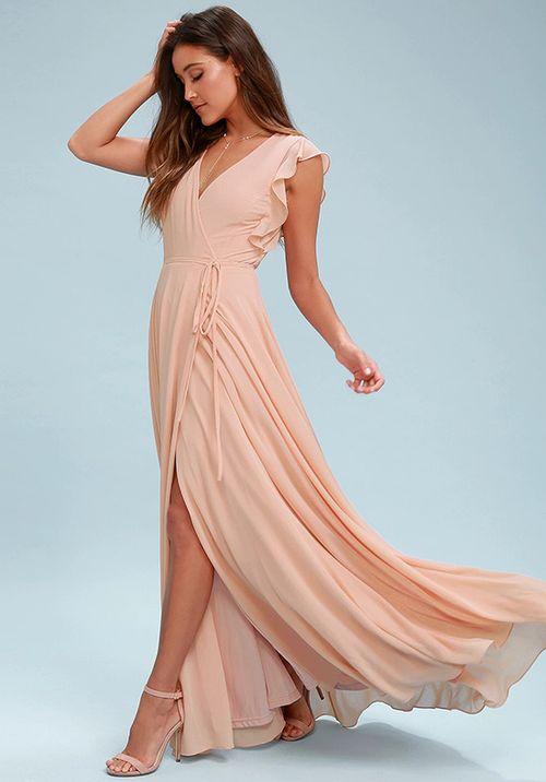 Crescendo Blush Wrap Maxi Dress, Lulus Bridesmaid
