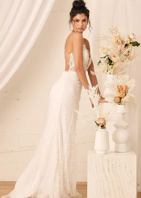 Wonderstruck White Glitter Lace-Up Embroidered Lace Maxi Dress, Lulus Luxe Bridal