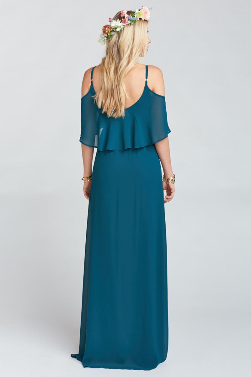 bf8a6fd293f2e Caitlin Ruffle Maxi Dress - Deep Jade Chiffon A-line Bridesmaid Dress by Show  Me Your Mumu - WeddingWire.com