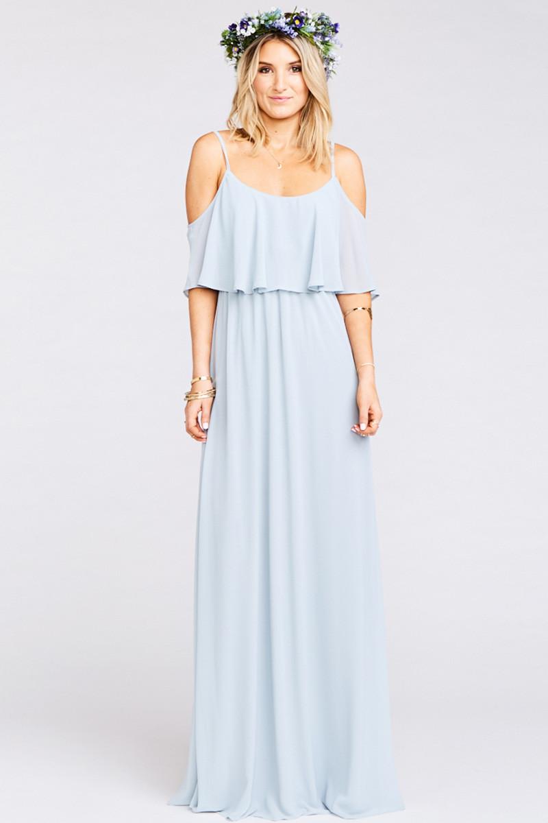 1b245102ff98 Caitlin Ruffle Maxi Dress - Steel Blue Chiffon A-line Bridesmaid Dress by  Show Me Your Mumu - WeddingWire.com
