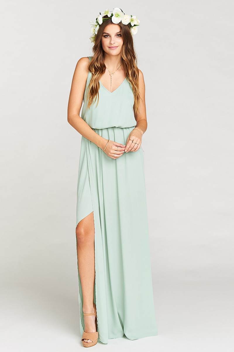 9cff65f2815 Kendall Maxi Dress - Dusty Mint Crisp A-line Bridesmaid Dress by Show Me  Your Mumu - WeddingWire.com
