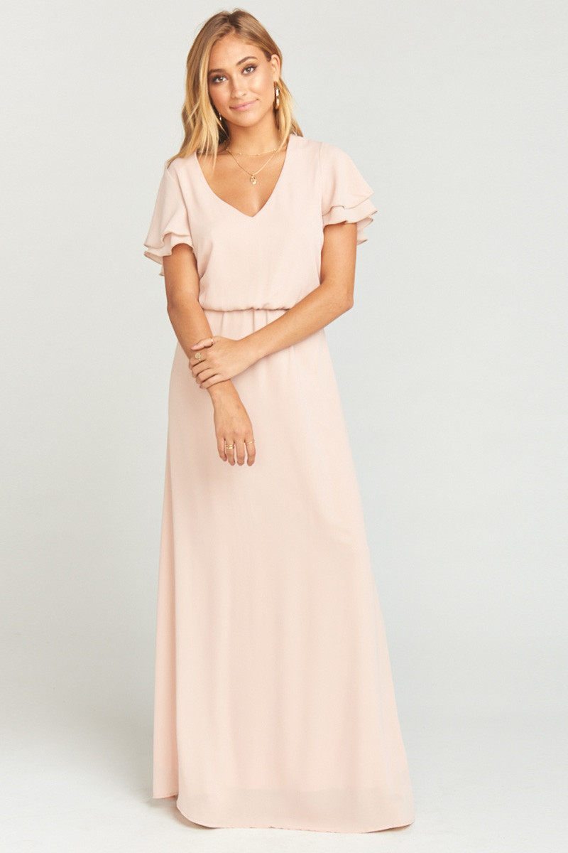1248ebc346453 Michelle Flutter Maxi Dress - Dusty Blush Crisp A-line Bridesmaid Dress by  Show Me Your Mumu - WeddingWire.com