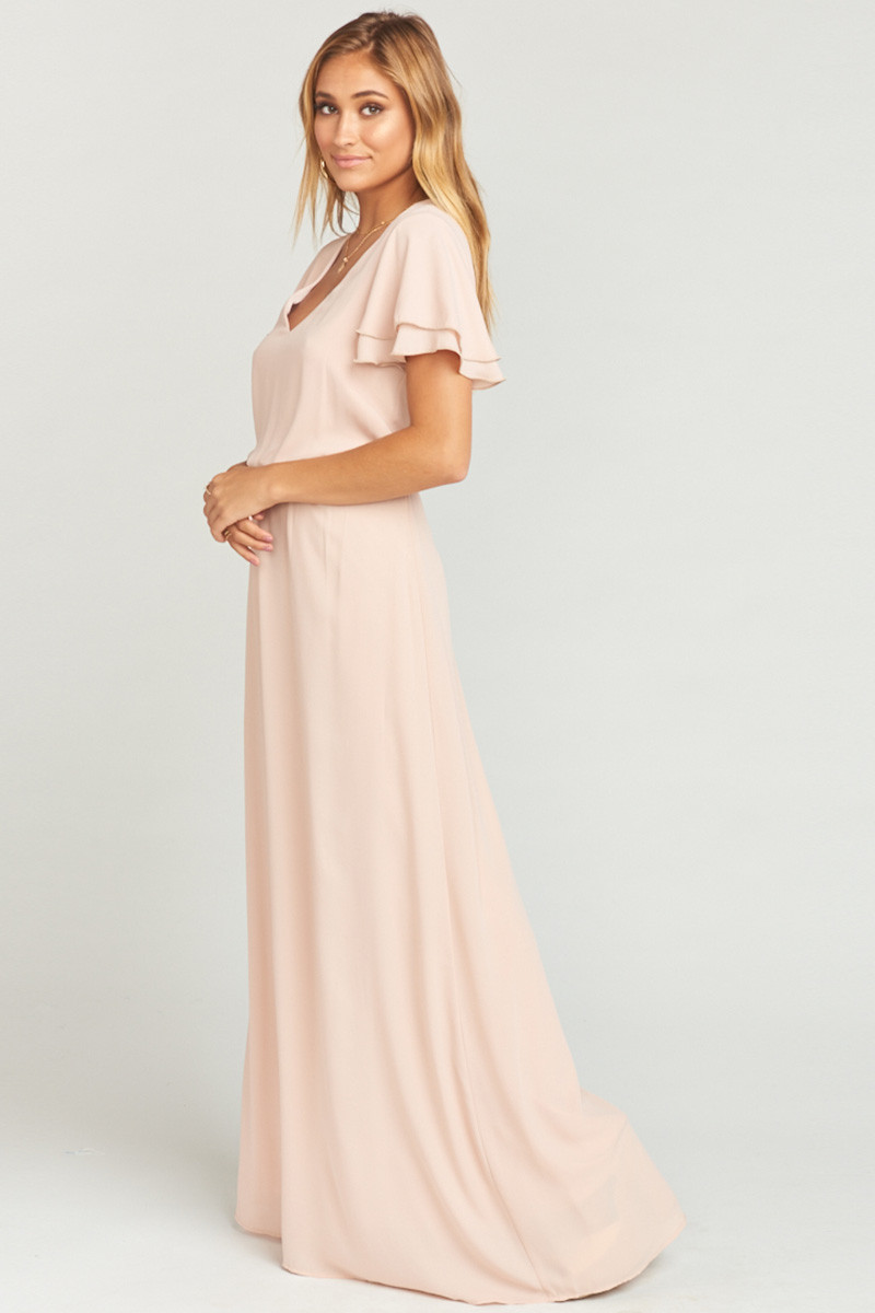 60bd664eb2b Michelle Flutter Maxi Dress - Dusty Blush Crisp A-line Bridesmaid Dress by  Show Me Your Mumu - WeddingWire.com