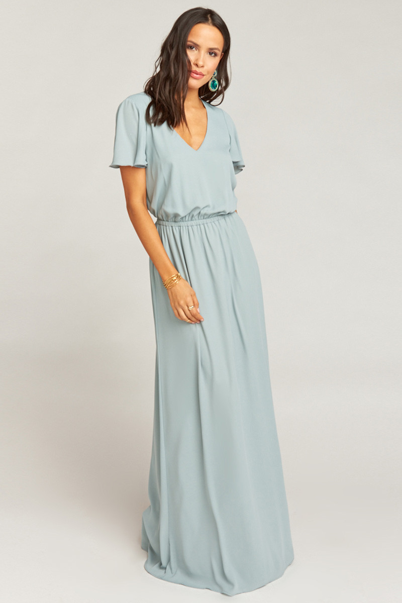 12ba78ca28e Michelle Flutter Maxi Dress - Silver Sage Crisp A-line Bridesmaid Dress by  Show Me Your Mumu - WeddingWire.com