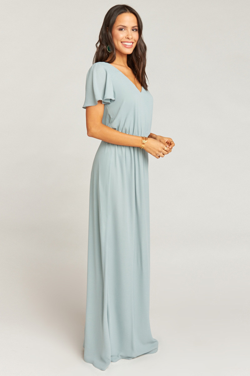 92079c13c0f Michelle Flutter Maxi Dress - Silver Sage Crisp A-line Bridesmaid Dress by Show  Me Your Mumu - WeddingWire.com