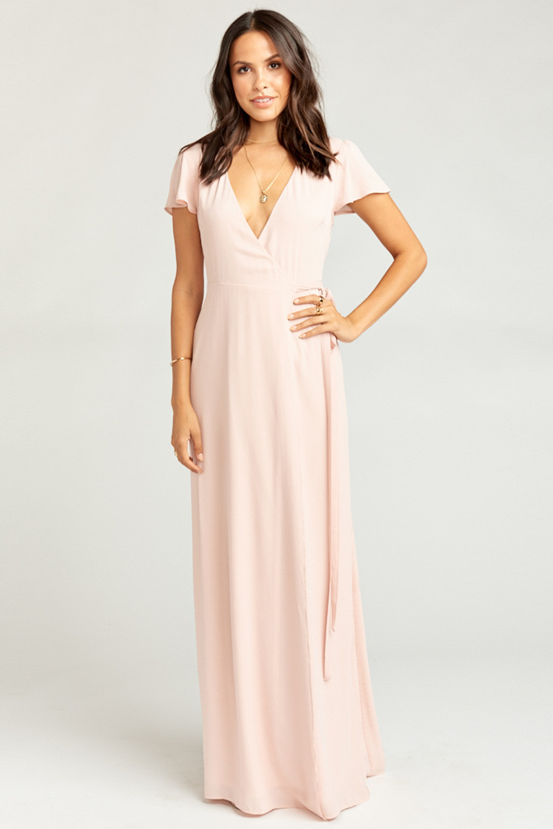 6c97d69f5ec Noelle Wrap Dress - Dusty Blush Crisp A-line Bridesmaid Dress by Show Me  Your Mumu - WeddingWire.com